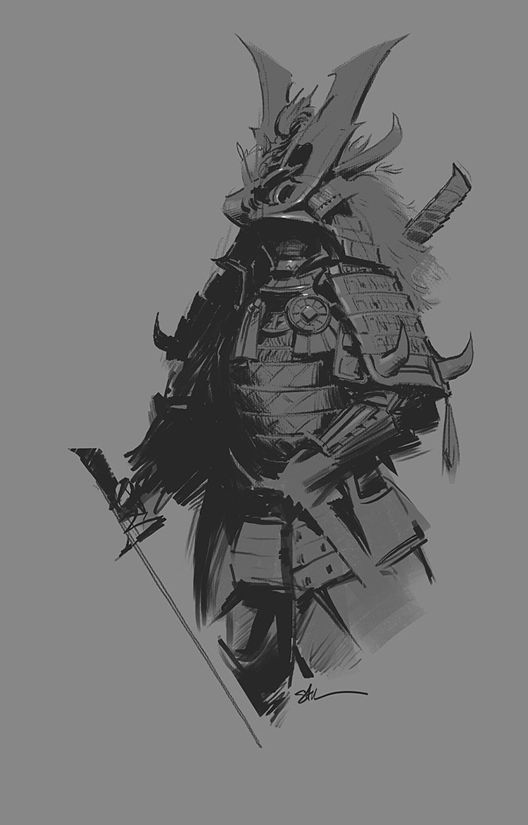 Samurai Illustrations Concept Paintings Character Designs