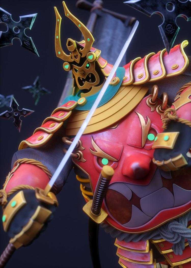 chubby samurai character concept