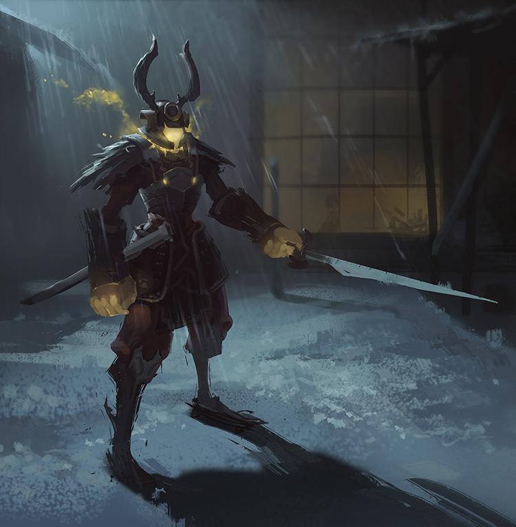 samurai night time art sketch