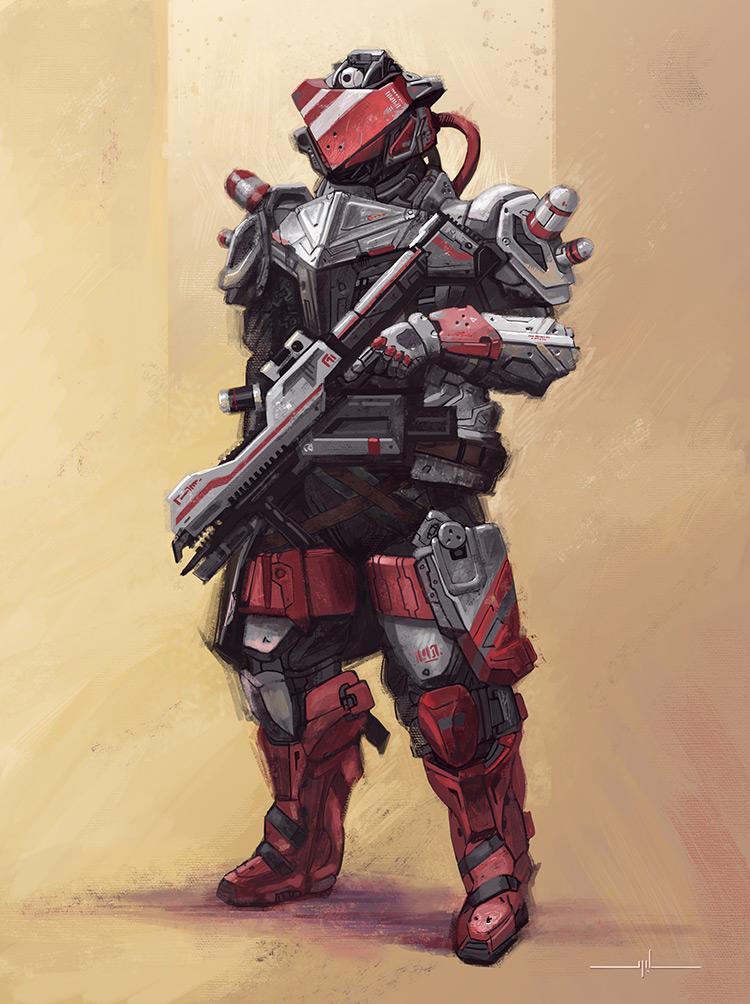 samurai cyberpunk warrior art character