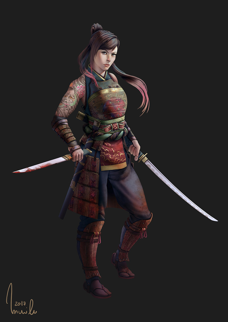 samurai female warrior art character