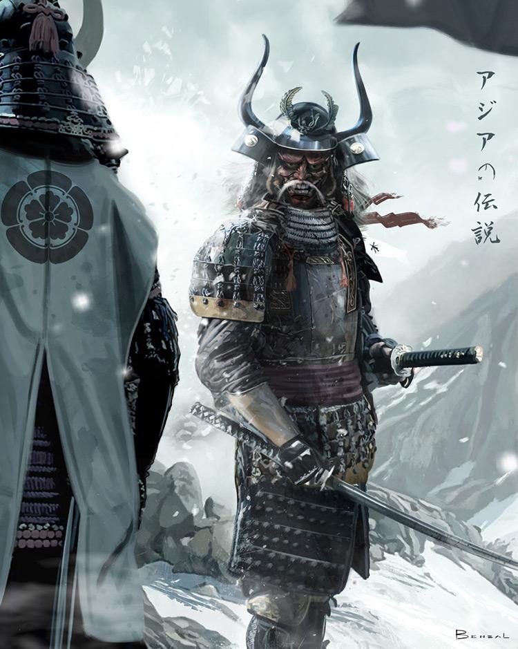 samurai kamen-bushi warrior art concept