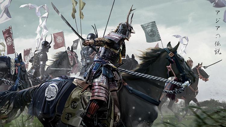 samurai cavalry riders art concept
