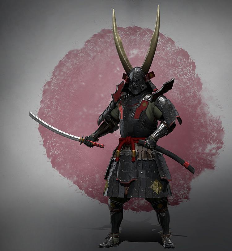 armor samurai katana sketch concept