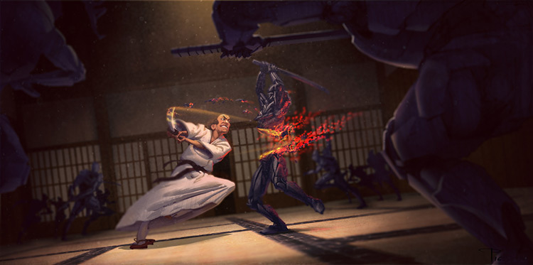 samurai ninja fight art