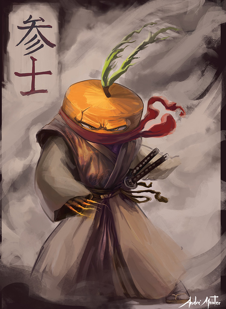 samurai veggie carrot sketch art