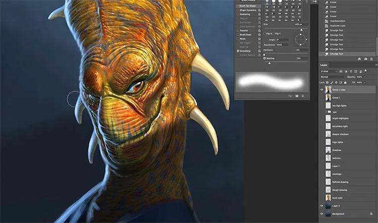 Aaron Blaise - alien character digital painting