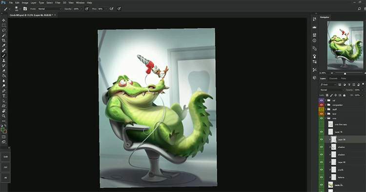 21Draw Alligator character concept preview