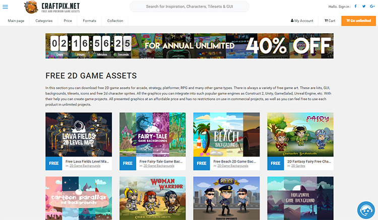 CraftPix game sprites & assets homepage