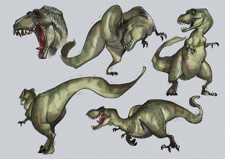 dinosaur t-rex sketch concept art
