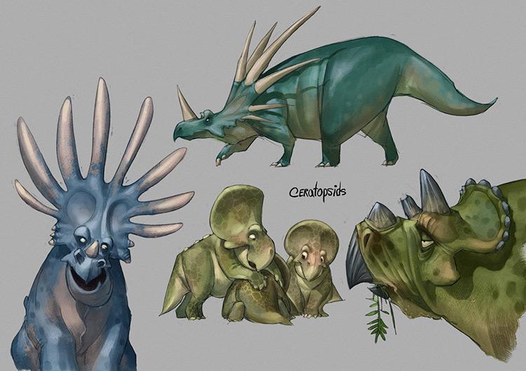 dinosaur ceratopsids concept art illustration