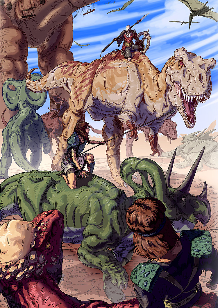 dinosaurs prehistoric ancient stone age art illustration