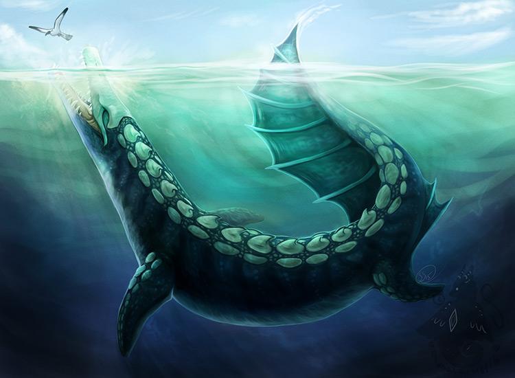 dinosaur attack underwater art concept character illustration