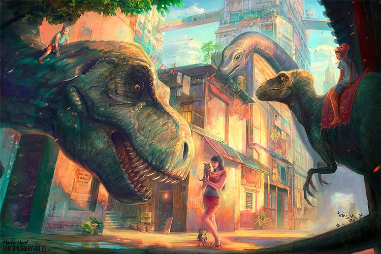 dinosaur city dinotopia trubute art sci-fi