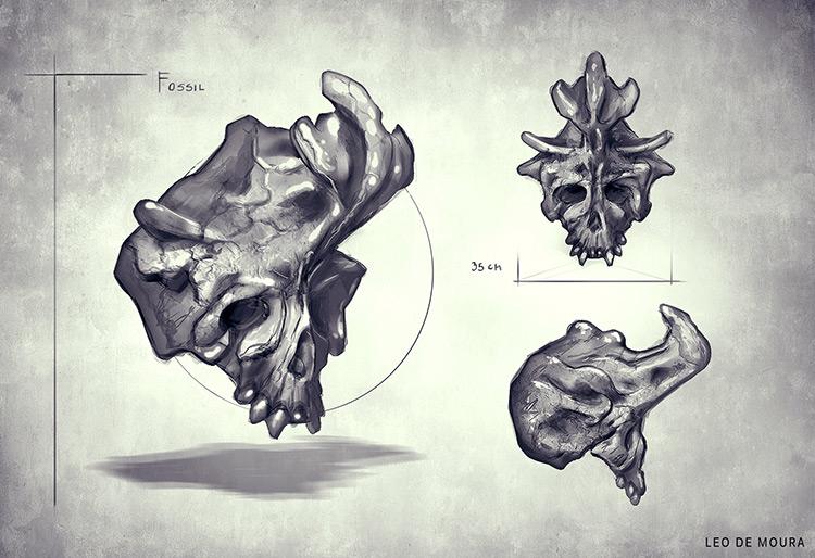 dinosaur fossil skull horns concept art