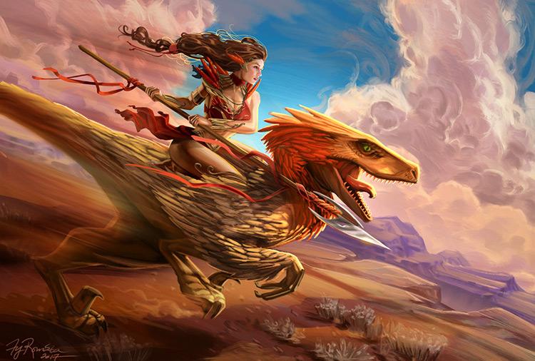 dinosaur creature rider woman art illustration