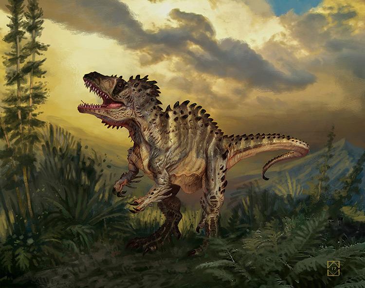 dinosaur acrocanthosaurus creature concept art