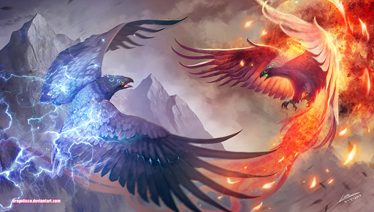 phoenix flame thunder fantasy illustration