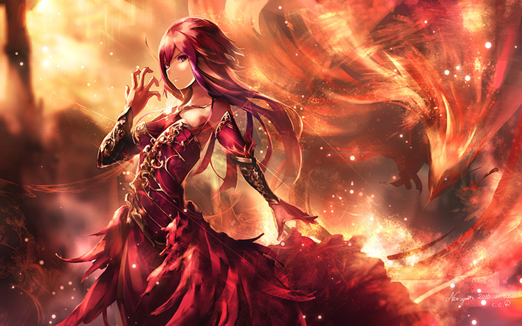 phoenix fire female character art illustration