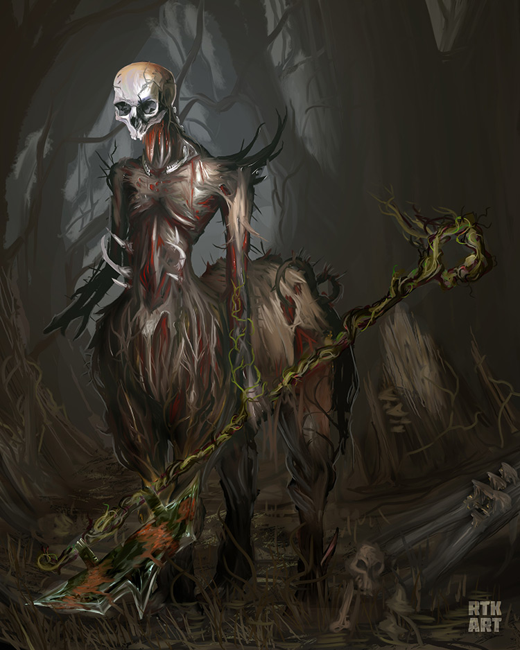lich centaur creature undead illustration art