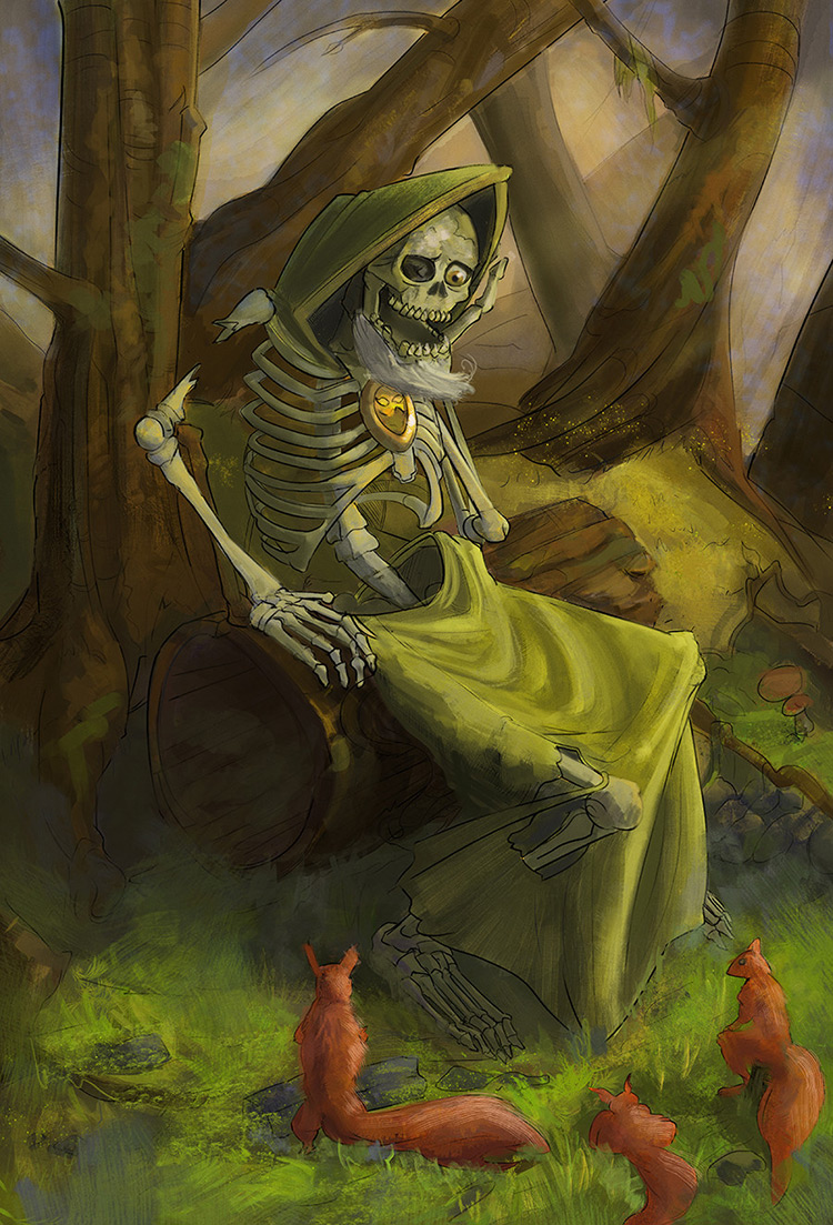 lich skeleton wander forest art concept