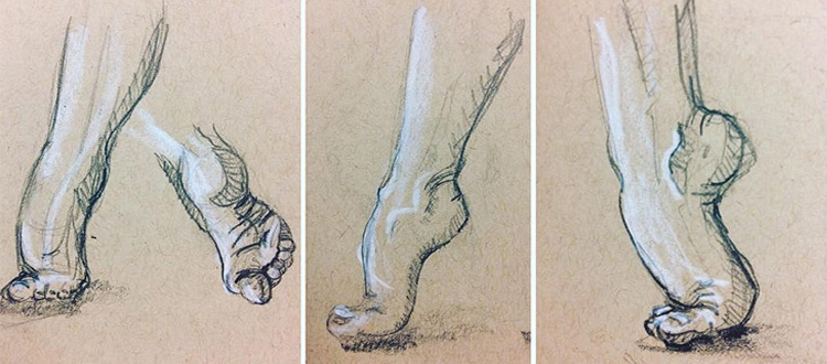 Toned paper drawings of feet