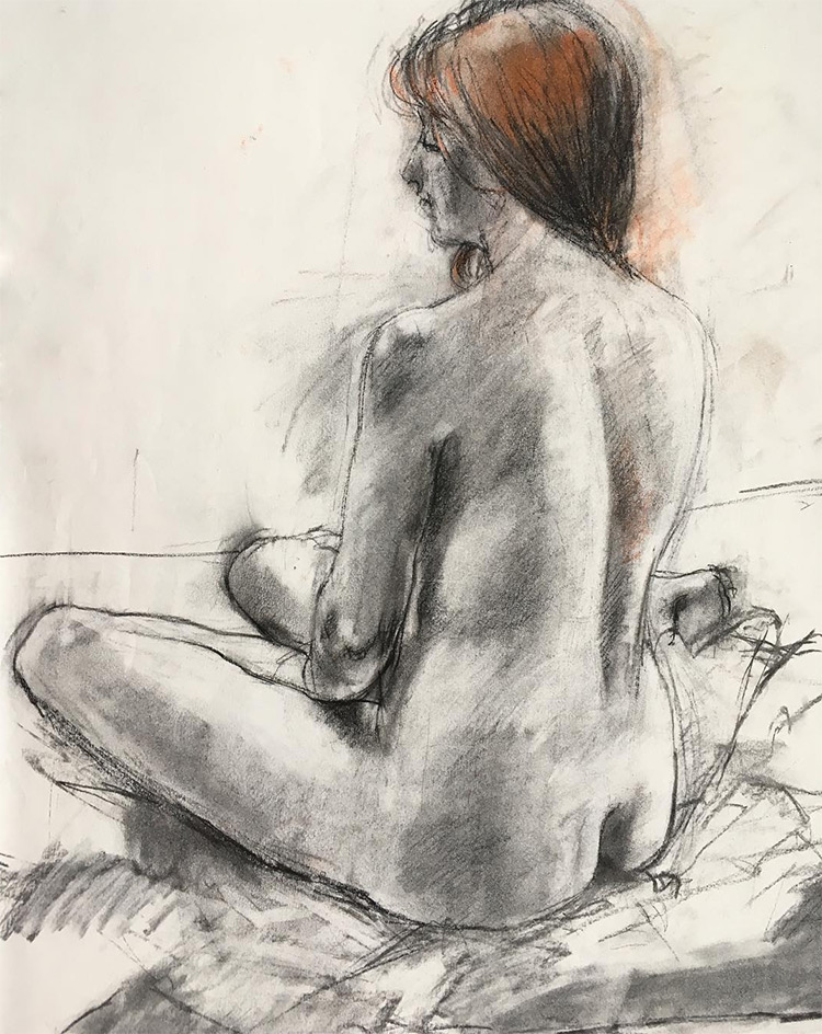 Woman drawn from behind in life drawing