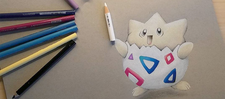Togepi drawing in colored pencil