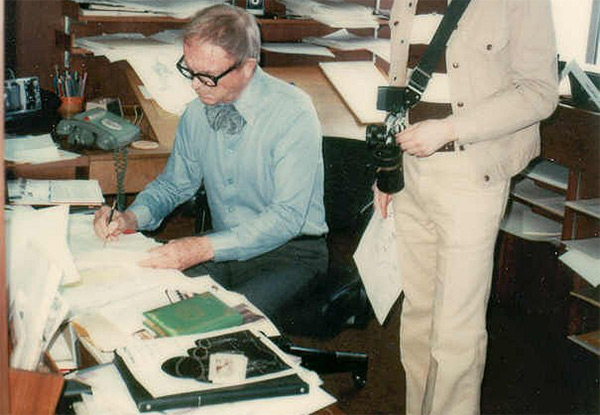 Chuck Jones working in his office
