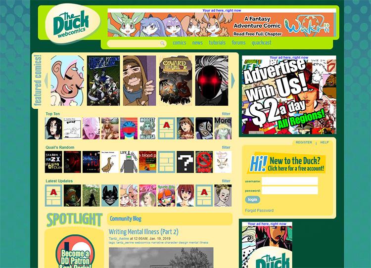 Duck Webcomics homepage