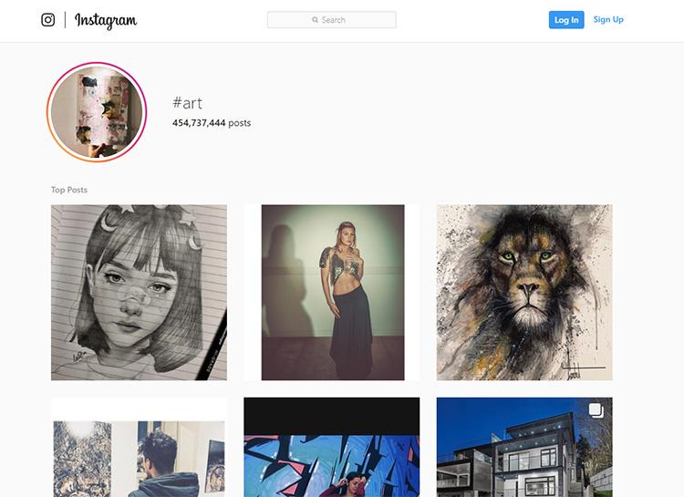 Searching art on instagram