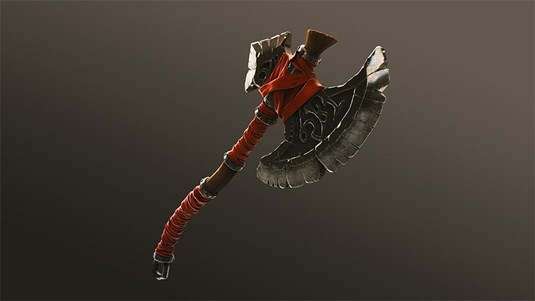Stylized 3d axe weapon model