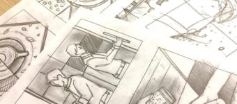 Detailed storyboards hand-drawn