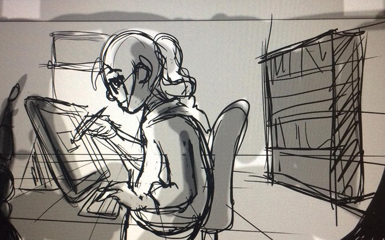 Digital sketch of a storyboard artist at work