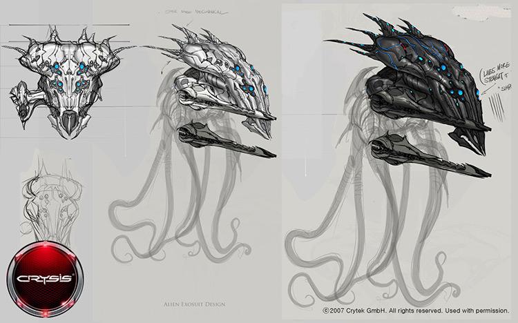 alien exosuit sci-fi concept art