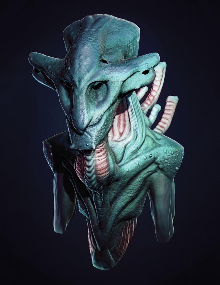 alien green creature concept art