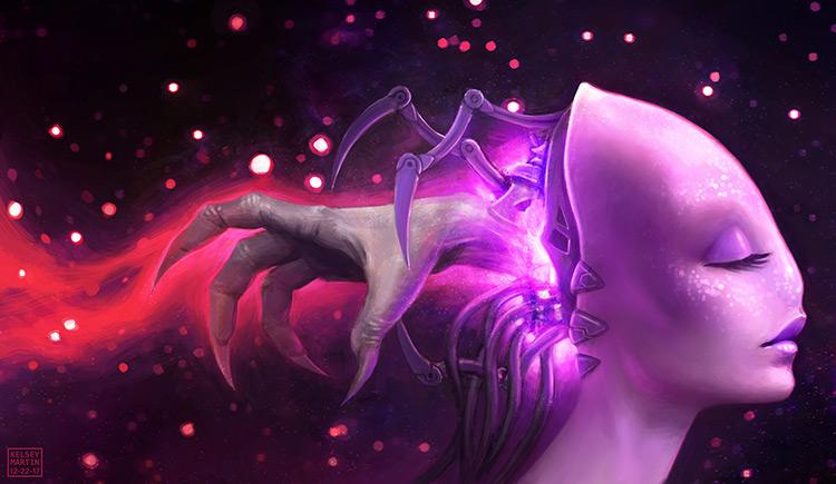 alien creature cyborg space art illustration