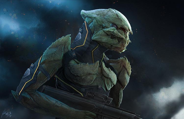 alien character mercenary costume concept art