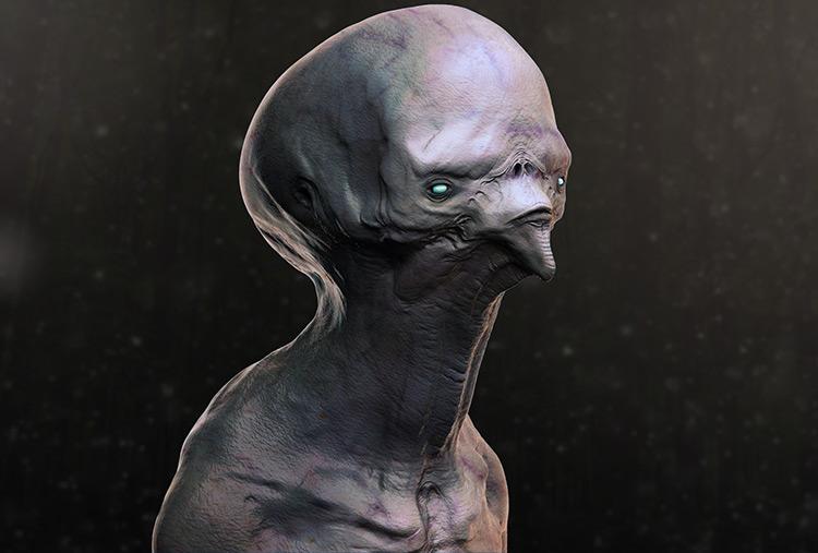 alien creature zombie concept art illustration