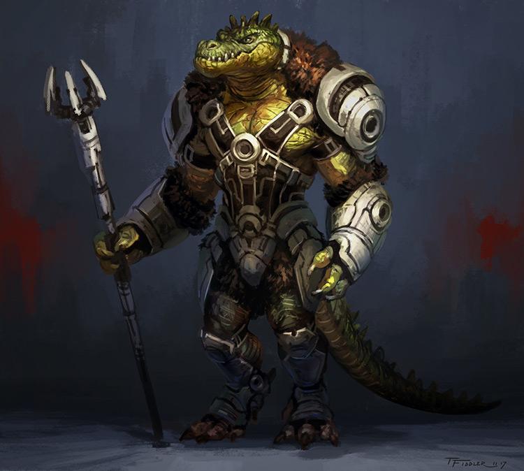 alien creature armor crocodile art concept