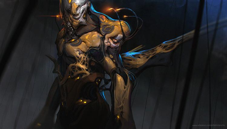 alien character armor concept art