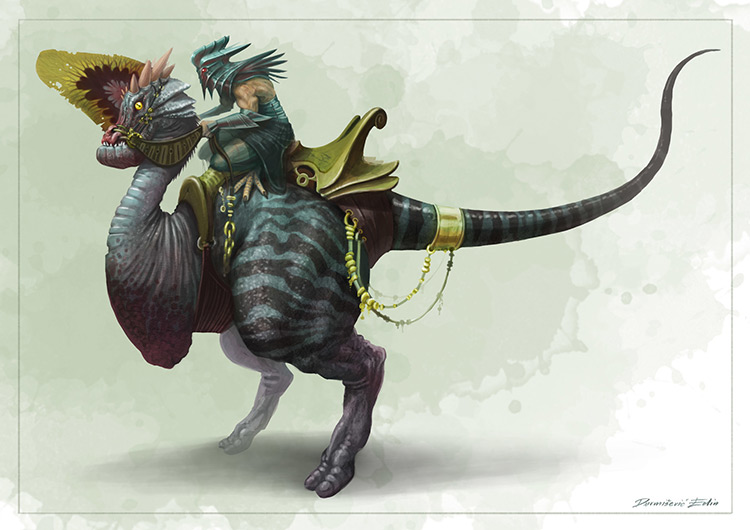 alien fantasy creature rider mount art concept