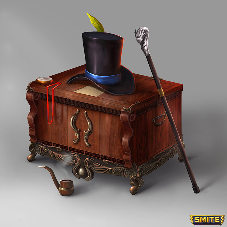 chest hat stick art concept
