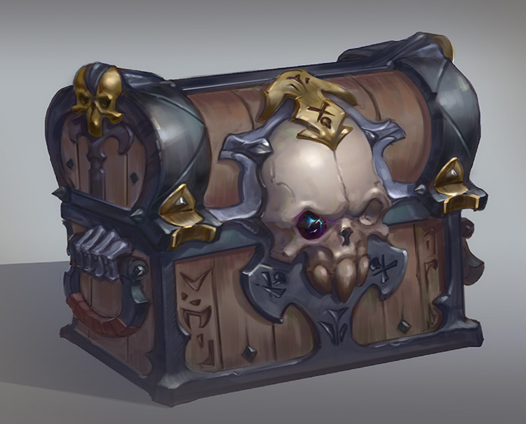 chest skull treasure art concept