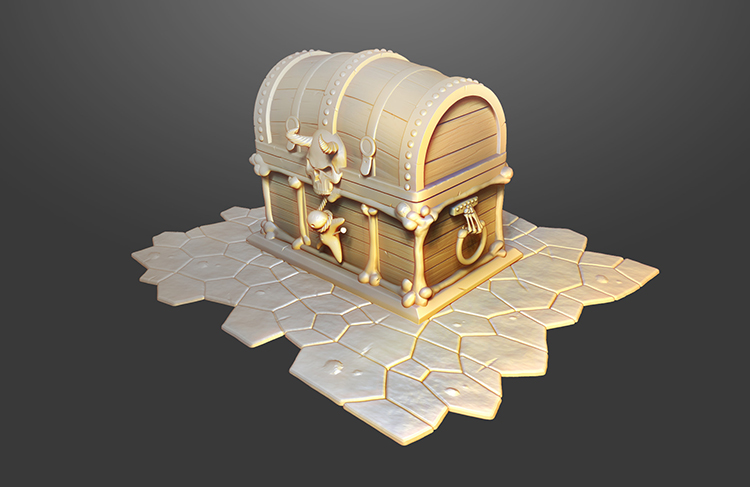 treasure chest curse skull art design