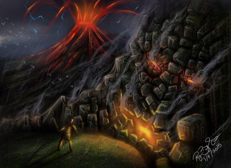 volcano earth god evil steam art illustration