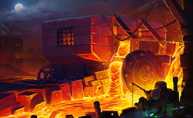 lava fishing mill dwarf fantasy concept art