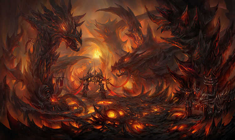 cave lava dragons fire concept art