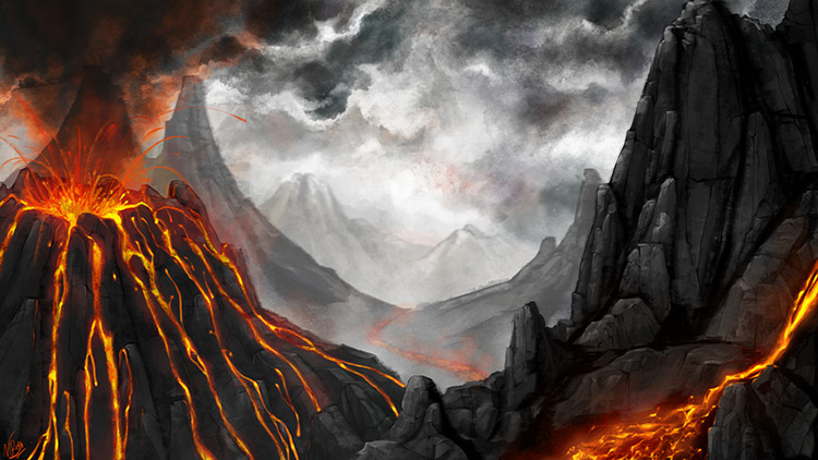 volcano lava rocks mountains art illustration