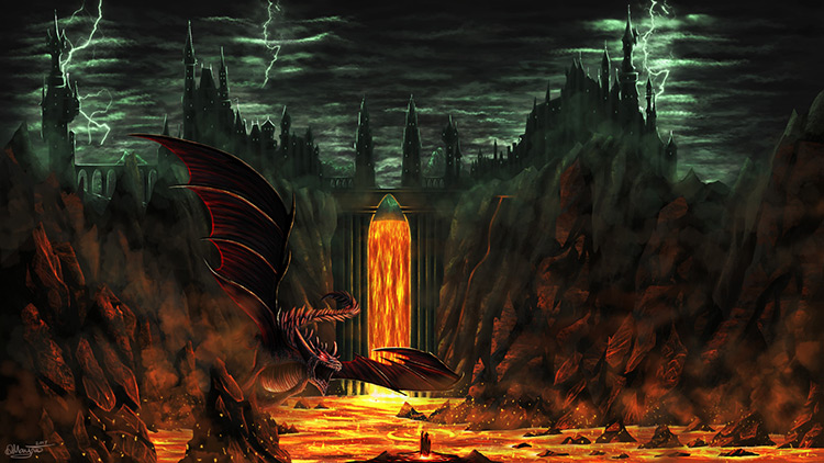 volcano lava dragon creature castle concept art